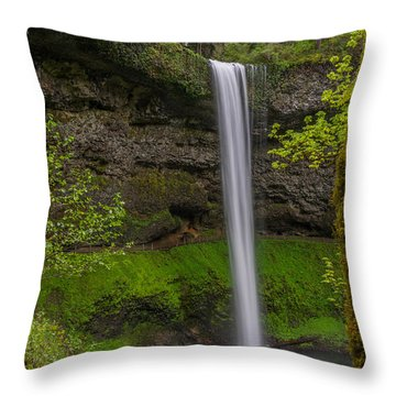 Throw Pillow featuring the photograph South Falls by Jerry Cahill