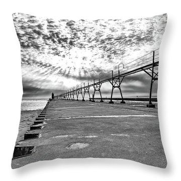 South Haven Pier Wide Angle Throw Pillow
