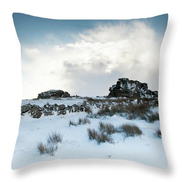 South Hessary Tor In The Snow II Throw Pillow