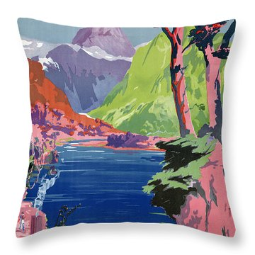 South Island New Zealand Vintage Poster Restored Throw Pillow