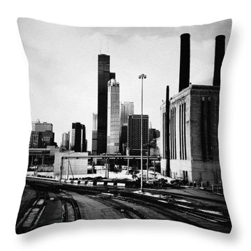 South Loop Railroad Yard Throw Pillow