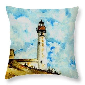 South Manitou Island Lighthouse Throw Pillow by Michael Vigliotti