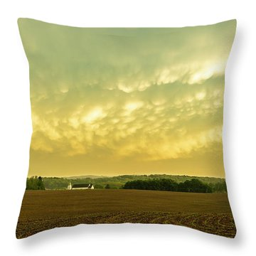 Thunder Storm Over A Pennsylvania Farm Throw Pillow