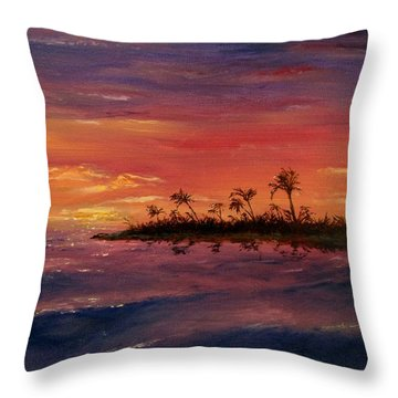 Throw Pillow featuring the painting South Pacific Atoll by Jack Skinner