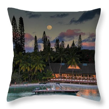 South Pacific Moonrise Throw Pillow