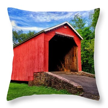South Perkasie Covered Bridge Throw Pillow