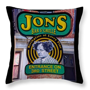 South Philly Skyline - Birthplace Of Larry Fine Near Jon's Bar And Grille-a - Third And South Street Throw Pillow