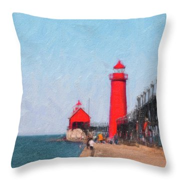 South Pier Of Grand Haven Throw Pillow