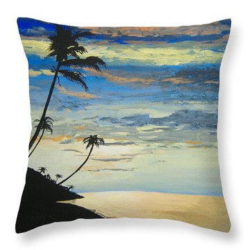 Throw Pillow featuring the painting South Sea Sunset by Norm Starks