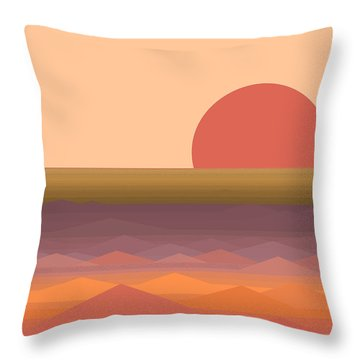 Throw Pillow featuring the digital art South Seas Abstract Sunrise by Val Arie