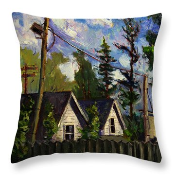 South Shore Line Backyards Throw Pillow by Charlie Spear