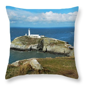South Stack Light House Throw Pillow by Lynn Hughes