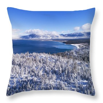 South Tahoe Winter Aerial By Brad Scott Throw Pillow