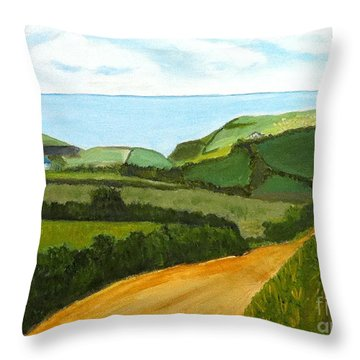 South West England Countryside Cotswold Area Throw Pillow