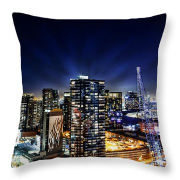 Southbank Melbourne By Night Throw Pillow