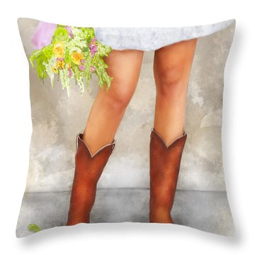 Southern Flower Girl In Her Fancy Boots Throw Pillow