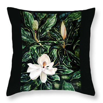 Southern Magnolia Bud And Bloom Throw Pillow