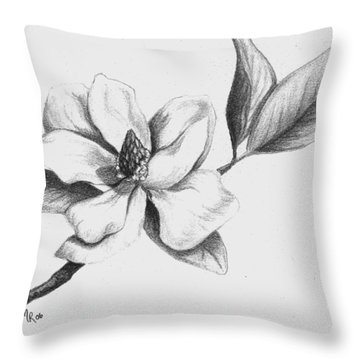 Southern Magnolia Throw Pillow by Mary Rogers