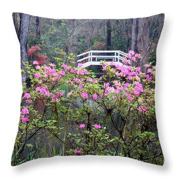 Southern Pond With Azaleas And Bridge Throw Pillow