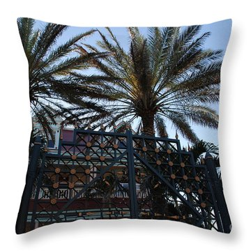 Southernmost Hotel Entrance In Key West Throw Pillow by Susanne Van Hulst