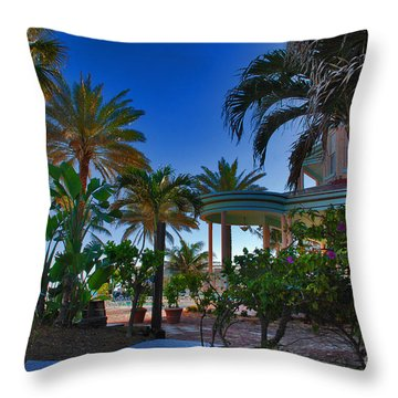 Southernmost Lush Garden In Key West Throw Pillow by Susanne Van Hulst