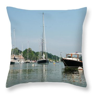 Southport Harbor Yachts Throw Pillow