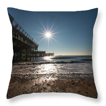 Southsea Pier Throw Pillow by Andrew Middleton