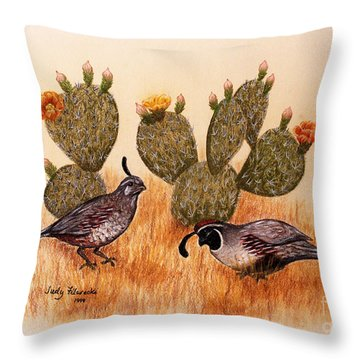 Throw Pillow featuring the painting Southwest Art Gambels Quail by Judy Filarecki