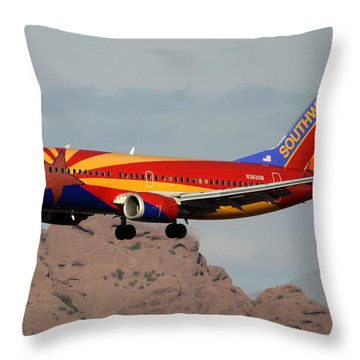 Southwest Boeing 737-3h4 N383sw Arizona Phoenix Sky Harbor December 20 2015  Throw Pillow by Brian Lockett
