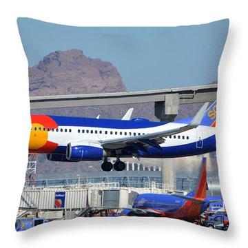 Southwest Boeing 737-7h4 N230wn Colorado One Phoenix Sky Harbor January 24 2016 Throw Pillow by Brian Lockett