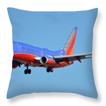 Southwest Boeing 737-7h4 N238wn Phoenix Sky Harbor January 17 2016 Throw Pillow by Brian Lockett