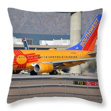 Southwest Boeing 737-7h4 N781wn New Mexico Phoenix Sky Harbor January 17 2016 Throw Pillow by Brian Lockett