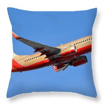 Southwest Boeing 737-7h4 N792sw Retro Gold Phoenix Sky Harbor January 21 2016 Throw Pillow by Brian Lockett