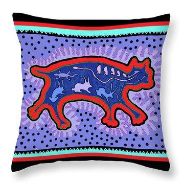 Throw Pillow featuring the digital art Southwest Desert Feral Cat by Vagabond Folk Art - Virginia Vivier