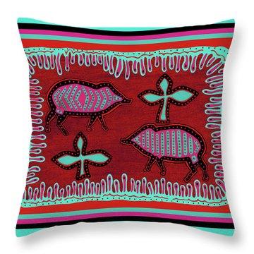 Throw Pillow featuring the digital art Southwest Desert Javelina by Vagabond Folk Art - Virginia Vivier