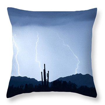 Southwest Desert Lightning Blues Throw Pillow by James BO  Insogna