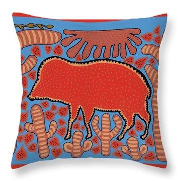 Throw Pillow featuring the digital art Southwest Desert Wart Hog by Vagabond Folk Art - Virginia Vivier