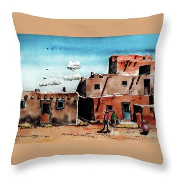 Throw Pillow featuring the painting Southwest Homes by Terry Banderas
