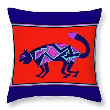 Throw Pillow featuring the digital art Southwest Mimbres Feline by Vagabond Folk Art - Virginia Vivier