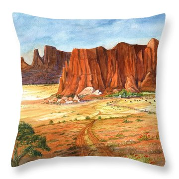 Throw Pillow featuring the painting Southwest Red Rock Ranch by Marilyn Smith