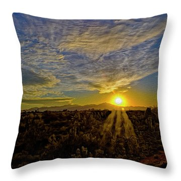 Throw Pillow featuring the digital art Southwest Sunset Op40 by Mark Myhaver