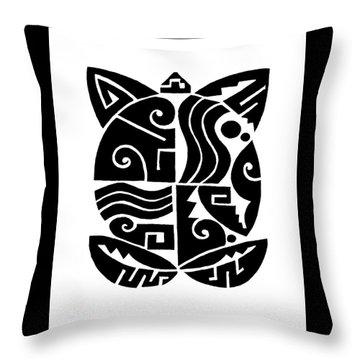 Throw Pillow featuring the digital art Southwest Tribal Tortuga by Vagabond Folk Art - Virginia Vivier
