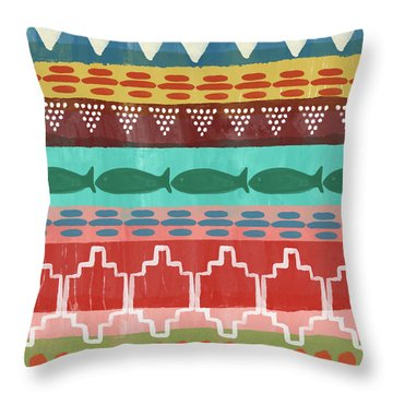 Southwest With Fish- Art By Linda Woods Throw Pillow