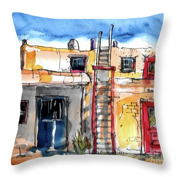 Throw Pillow featuring the painting Southwestern Home by Terry Banderas