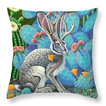 Southwestern Jackalope Throw Pillow