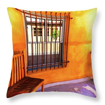 Southwestern Porch Distortion With Puple Floor Throw Pillow