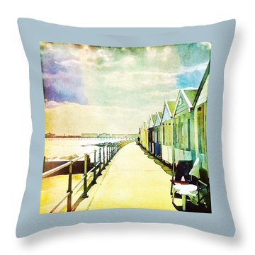 Throw Pillow featuring the photograph Southwold Beach Huts by Anne Kotan