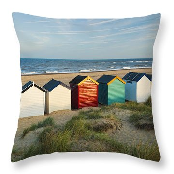 Southwold Beach Huts Throw Pillow