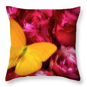 Soutime Roses And Yellow Butterfly Throw Pillow
