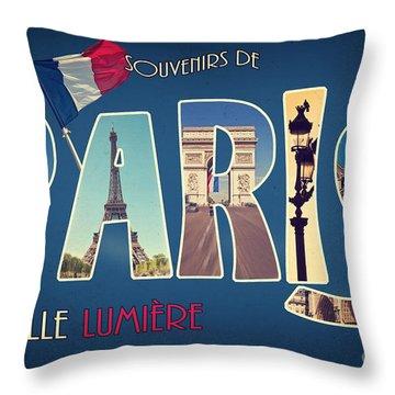 Souvernirs De Paris Throw Pillow
